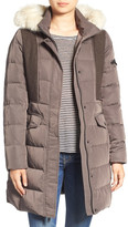 7 For All Mankind Mixed Media Removable Faux Fur Trim Hood Coat