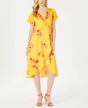 Julia Jordan Printed Faux-Wrap Dress