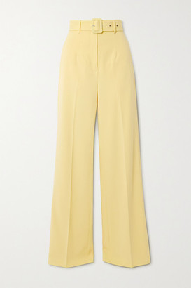 De La Vali Lily Belted Woven Wide-leg Pants - Pastel yellow