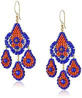 Miguel Ases Blue Hydro-Quartz and Orange Miyuki Bead Small Chandelier Earrings