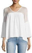 Bailey 44 Cross Training V-Neck Bell-Sleeve Top, White