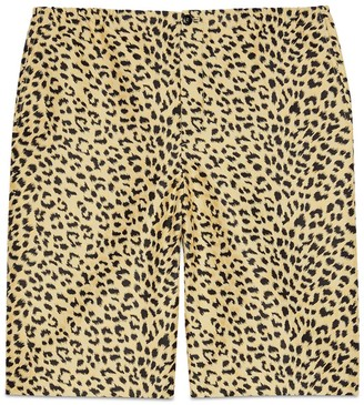 Gucci Leopard jacquard shorts with label
