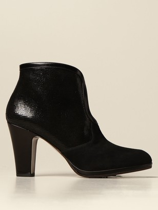 Chie Mihara Cesna Ankle Boot In Suede And Leather With Reptile Print