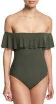 MICHAEL Michael Kors Off-the-Shoulder One-Piece Swimsuit, Green
