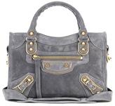 Balenciaga Classic Metallic Edge Mini City suede shoulder bag