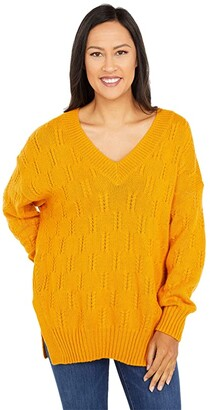 Lucky Brand Braided Stitch Pullover (Sunflower) Women's Clothing