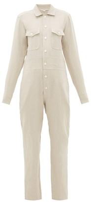 White Story - Capri Button-down Linen Jumpsuit - Beige