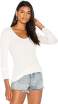Bobi Long Sleeve Thermal V Neck Top in White