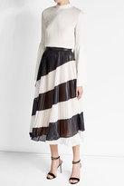 Marco De Vincenzo Pleated Diagonal Stripe Midi Skirt