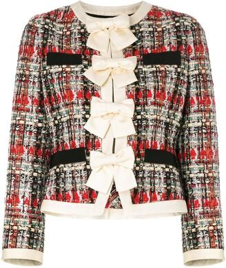 Gucci Bow-Embellished Tweed Jacket