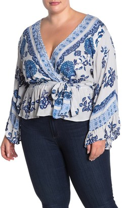 Angie Floral Paisley Bell Sleeve Faux Wrap Top (Plus Size)