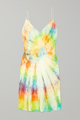 Dannijo Tie-dyed Silk-satin Mini Dress - Yellow