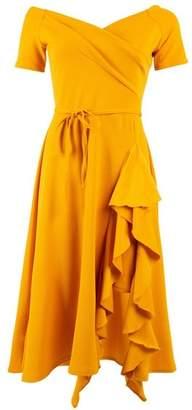 Dorothy Perkins Womens *Feverfish Mustard Frill Midi Bardot Dress, Mustard