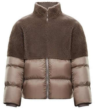 Moncler + Rick Owens Coyote Woven & Shearling Down Coat