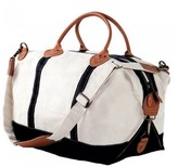 The Well Appointed House Weekender Bag in White with Black Accents-Can Be Personalized
