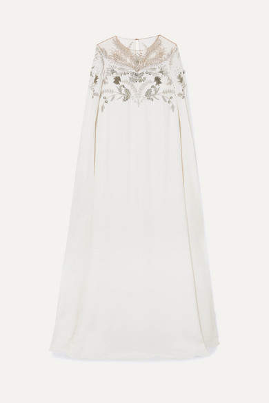Oscar de la Renta Cape-effect Embellished Silk-crepe And Tulle Gown - Ivory