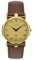 Gucci 3400M Gold Plated / Leather 31mm Mens Watch