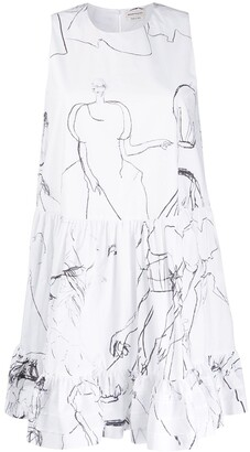 Alexander McQueen Illustration Printed Dress