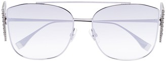 Fendi Eyewear crystal F metal frame sunglasses