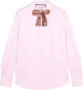Gucci Embellished Cotton-poplin Shirt - Pink