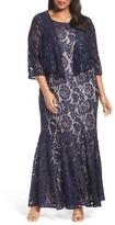 Alex Evenings Plus Size Women's Chiffon Overlay Long Lace Dress