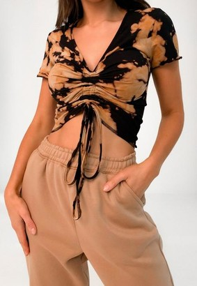 Missguided Tan Tie Dye Ruched Cap Sleeve Crop Top