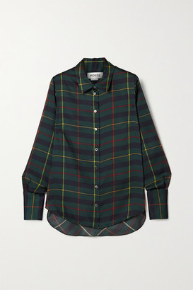 Monse Harris Cutout Draped Tartan Satin-twill Shirt - Forest green