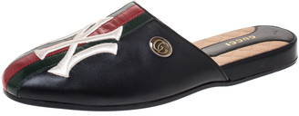 Gucci Black Leather Web Detail NY Flamel Mules Size 38