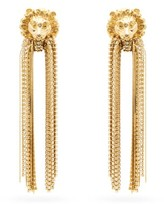 Gucci Lion Crystal-fringed Clip Earrings - Womens - Gold