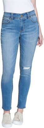 Seven7 Women's Mid Rise Starlette Skinny Jean with Flap Pocket