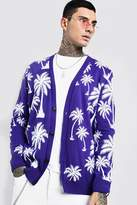 BoohoomanBoohooMAN Mens Purple Slouchy All Over Palm Print Knitted Cardigan, Purple