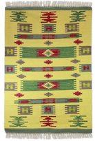 Novica Handcrafted Wool 'Tribal Sunshine' Dhurrie Rug (4x6) (India)