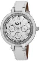 Burgi Women's BUR085SSW Round Crystal Embellished Silver-Tone Watch with White Leather Strap