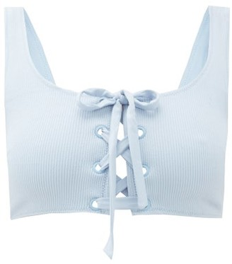 Ganni Lace-up Ribbed Bikini Top - Womens - Light Blue