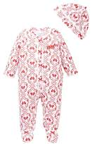 Little Me Damask Footie and Hat (Baby Girls)