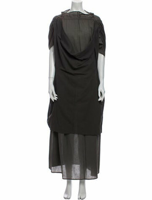 Issey Miyake Bateau Neckline Long Dress Grey