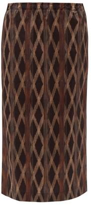 Raey Elasticated-waist Aztec-print Cotton Midi Skirt - Black Print