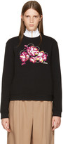 Carven Black Embroidered Floral Sweatshirt