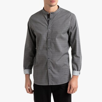 La Redoute Collections Printed Slim Shirt with Mandarin Collar
