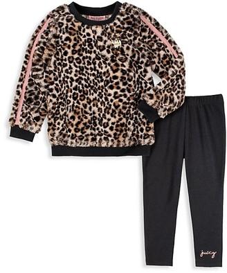 Juicy Couture Girl's 2-Piece Leopard-Print Sweater & Leggings Set