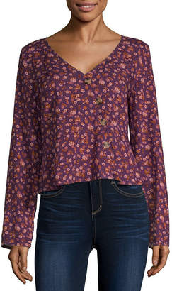 Arizona Juniors Womens V Neck Long Sleeve Blouse