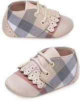 Burberry Boys' Tom Check Shoes w/ Perforated Leather Trim, Newborn-12 Months