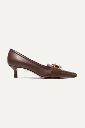 Bottega Veneta Embellished Leather Pumps - Brown