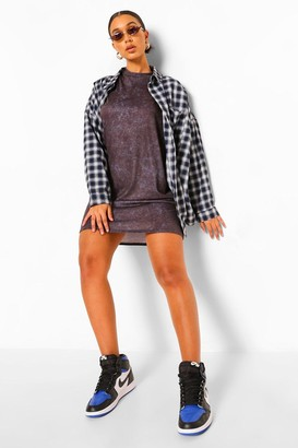 boohoo Oversized Acid Wash T-shirt Dress