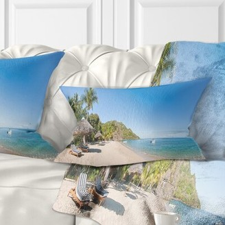 Beach with Chairs and Umbrellas Seashore Photo Lumbar Pillow East Urban Home