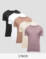 Asos 5 Pack Muscle T-Shirt