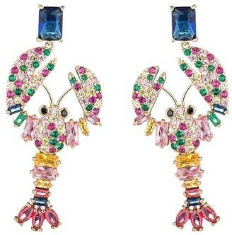 Eye Candy La Lobster 18K Goldplated Cubic Zirconia Drop Earrings