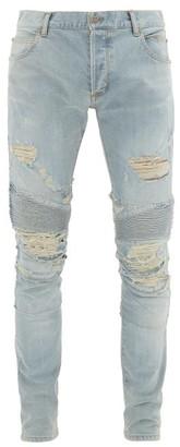 Balmain Distressed Slim-leg Biker Jeans - Mens - Blue