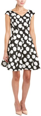 Julia Jordan Women's V Neck Extended Shoulder Polka Dot Fitflare Black/Ivory 4