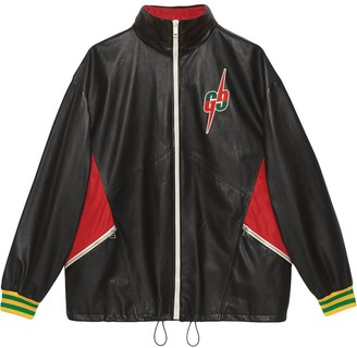 Gucci Leather bomber jacket with GG Blade